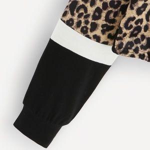 Tops - Black & Leopard Drawstring Hem Sweatshirt - NWOT